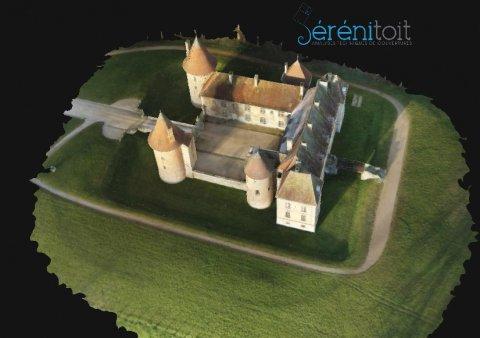 Aperçu de la modélisation 3d (sans les mesures) d'un château dans le secteur de AUTUN (71)