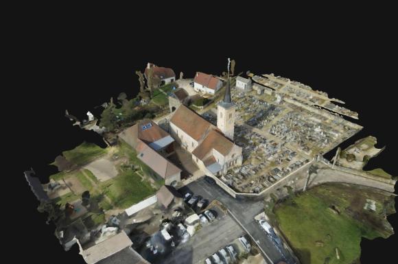 Modélisation 3d d'une église en franche-comté vers DOLE - BESANCON (39)
