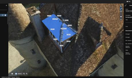 Prise de mesures de toiture à EPERNAY (51) par drone. Extrait de la modélisation depuis le logiciel Pix4D