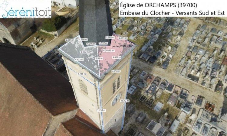 Métré par drone - Modélisation 3d d'une église en franche-comté vers DOLE - BESANCON (39)