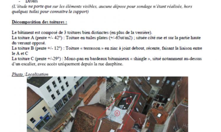 exemple d'une page du rapport d'analyse suite analyse de toiture par drone à Dijon