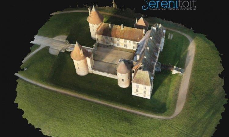 Métré toiture par drone. Vu d'une modélisation générale (par + de 700 photos)