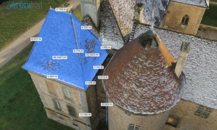 Métré de toiture par drone. Exemple de prises de mesures sur la maquette informatique